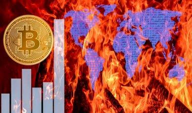 Bitcoins ve yeni sanal para kavramı. Altın bitcoins Mum grafiği grafik ve dijital arka plan sopa. Altın sikke simge mektup B.Mining veya blockchain teknolojisi ile