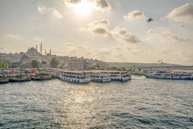ISTANBUL/TURKEY- AUGUST 18, 2019 Sunny day architecture and Galata bridge in Eminonu, istanbul, Turkey, August 18 2019