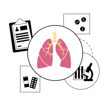 Lungs anatomy, respiratory system disease. Tuberculosis, pneumonia and asthma diagnosis. Patients help and doctors consult in pulmonology clinic. Human internal organs medical flat vector illustration icon