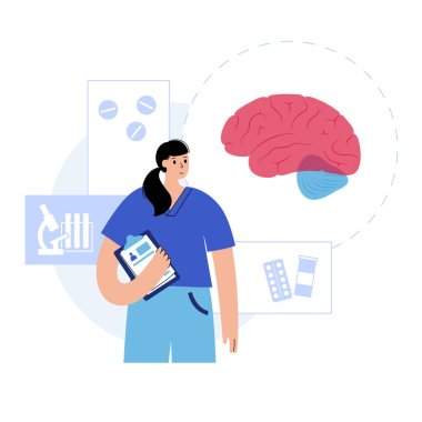 Brain logo for neurology clinic. Doctor appointment and laboratory research. Sensation, intellectual, nervous activity concept. Human internal organ transplantation. Flat medical vector illustration. icon