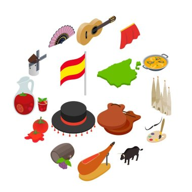 Spain isometric 3d icons