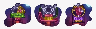 Big set neon billboard, theme Cafe and restaurant. Pizza Time, Snack Bar and Kebab Bistro neon sign, isolated sticker, bright signboard, light banner. Vector illustration