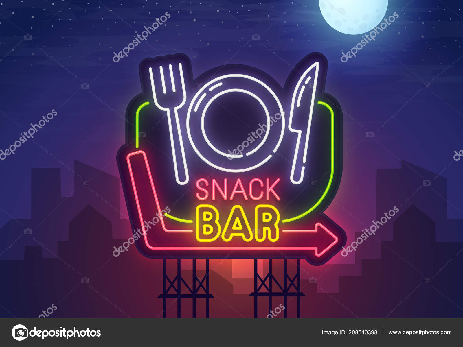 Night city  Sign neon  Snack Bar  Bright billboard  Cafe and
