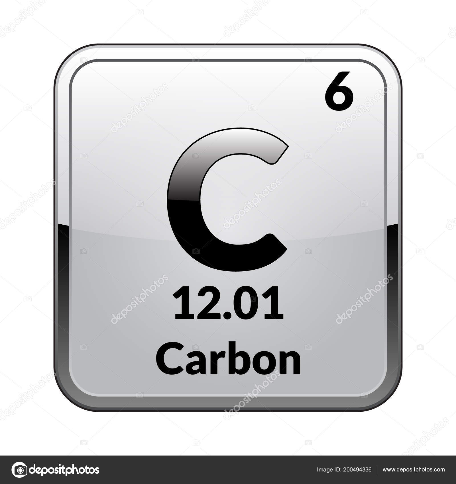 Carbon Symbol Chemical Element Periodic Table Glossy White