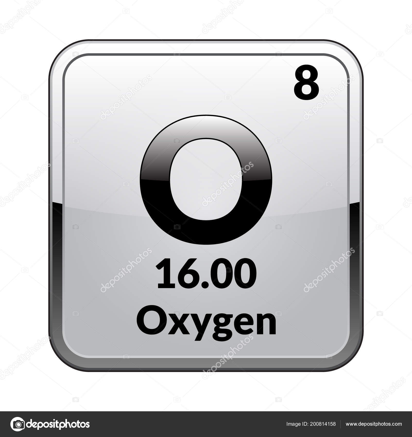 Oxygen symbol chemical element periodic table glossy white oxygen symbol chemical element periodic table glossy white background silver stock vector urtaz Images