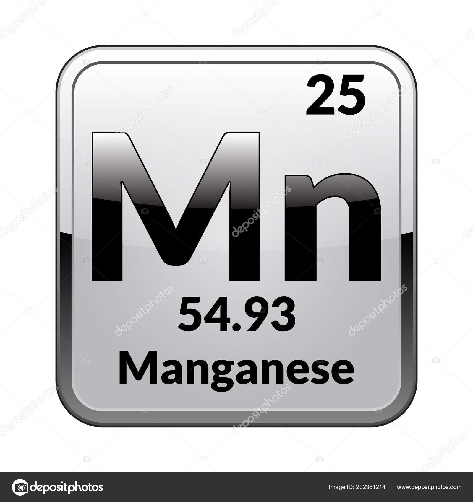 Manganese Symbol Chemical Element Periodic Table Glossy White