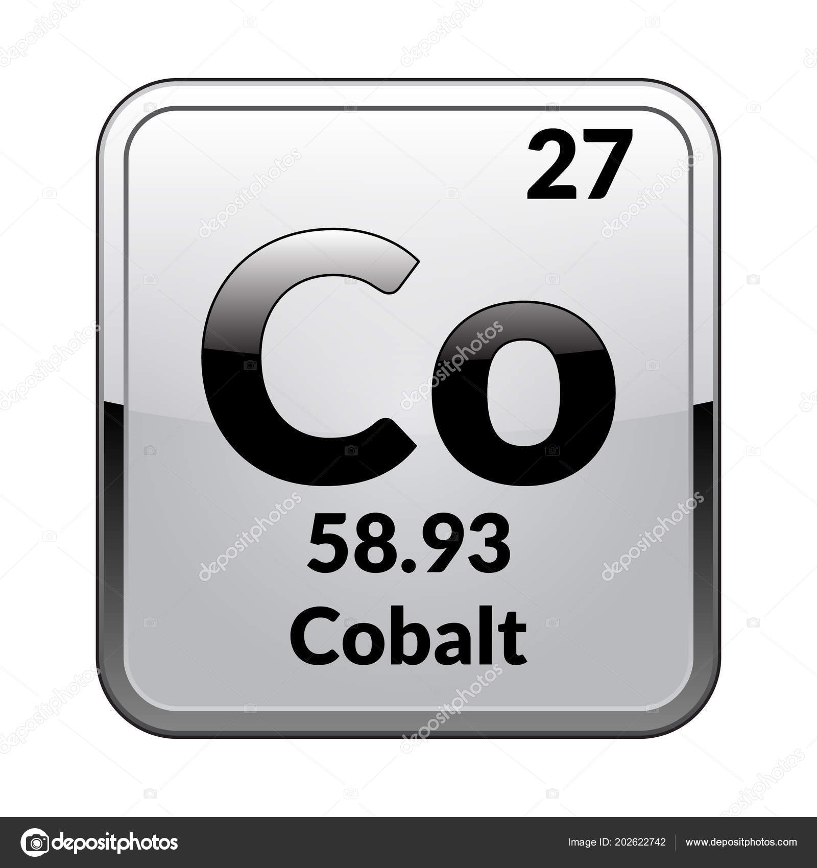 Cobalt Symbol Chemical Element Periodic Table Glossy White