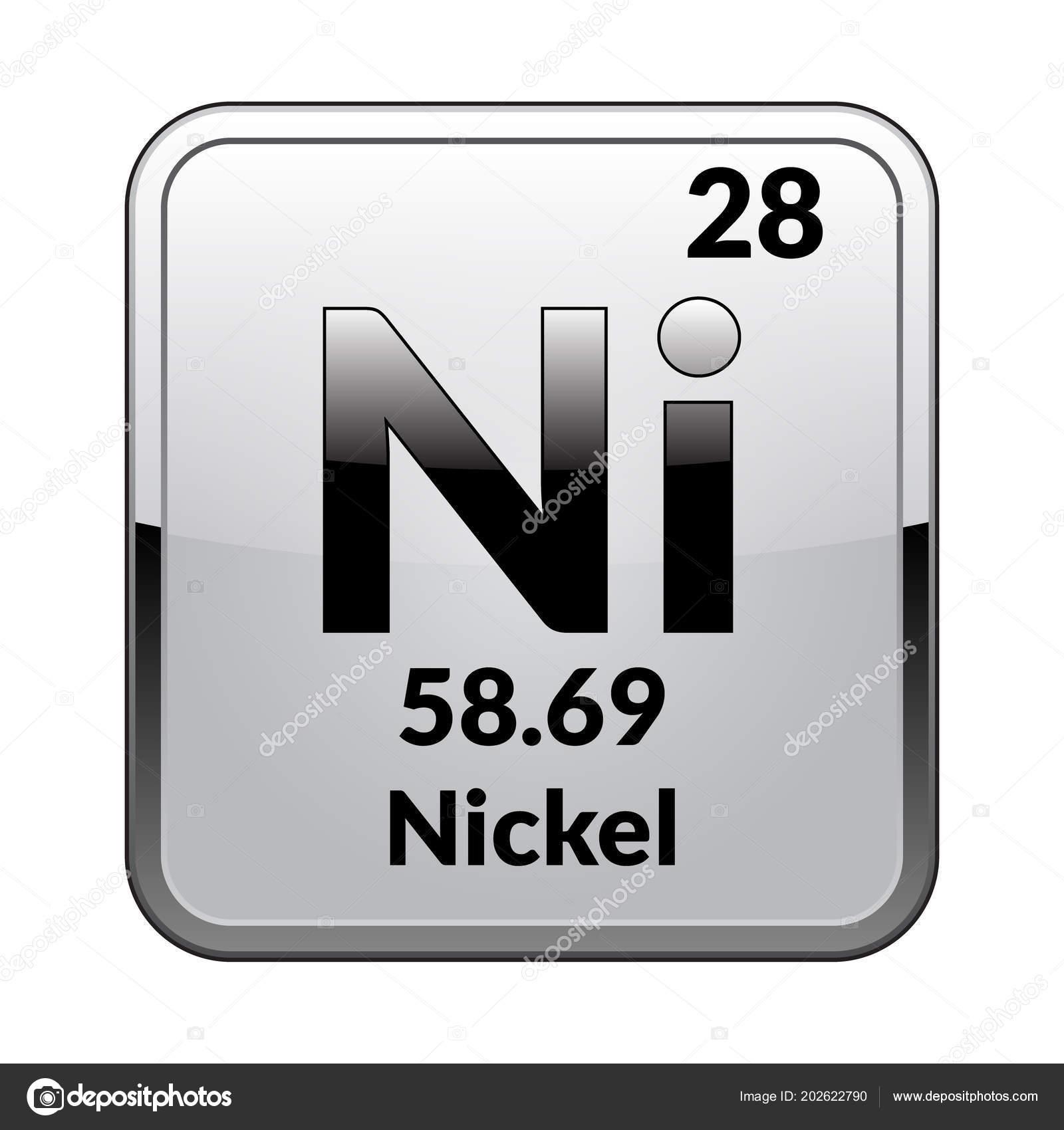 Nickel symbol chemical element periodic table glossy white nickel symbol chemical element periodic table glossy white background silver stock vector urtaz Gallery
