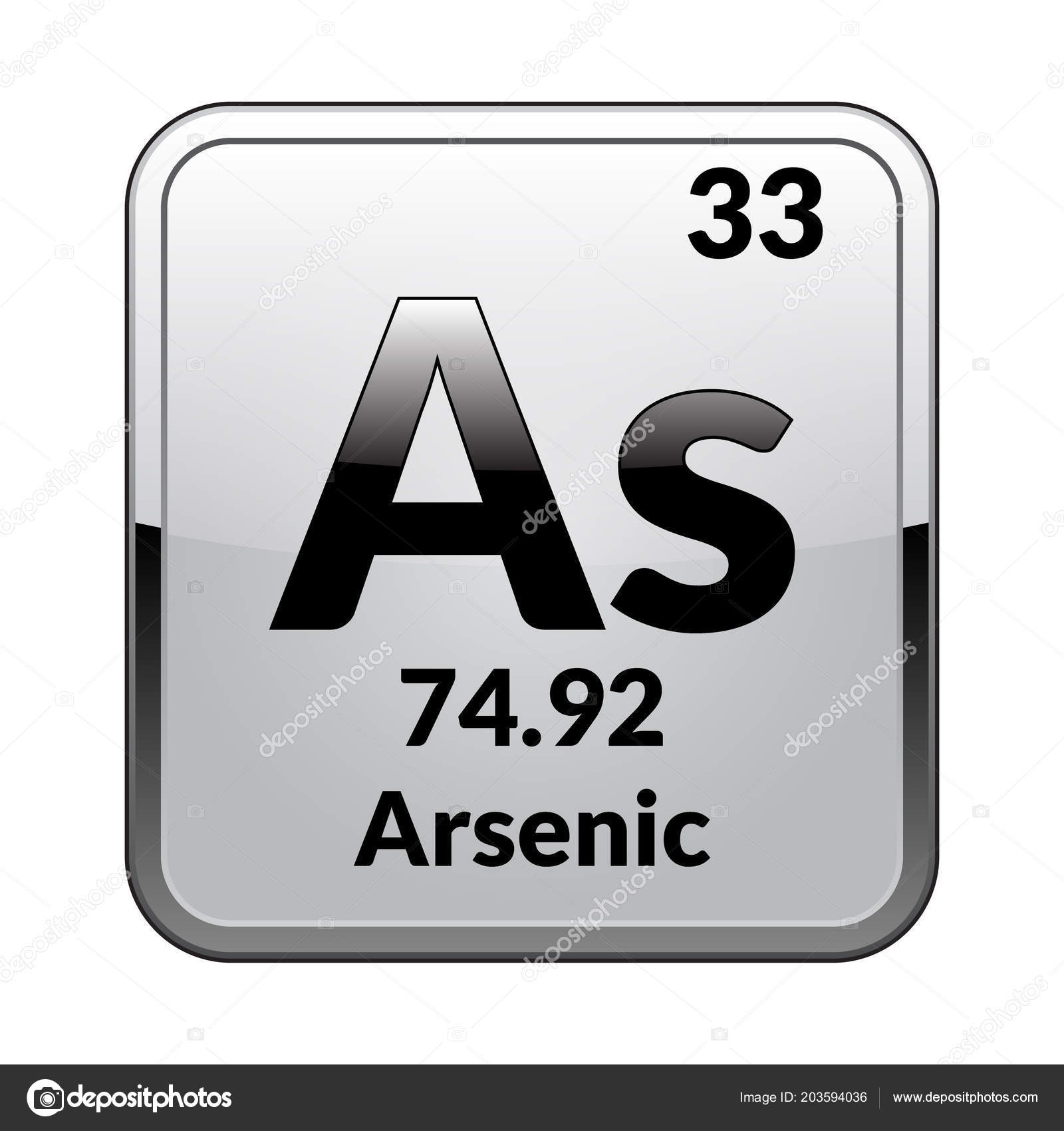 Arsenic Symbol Chemical Element Periodic Table Glossy White