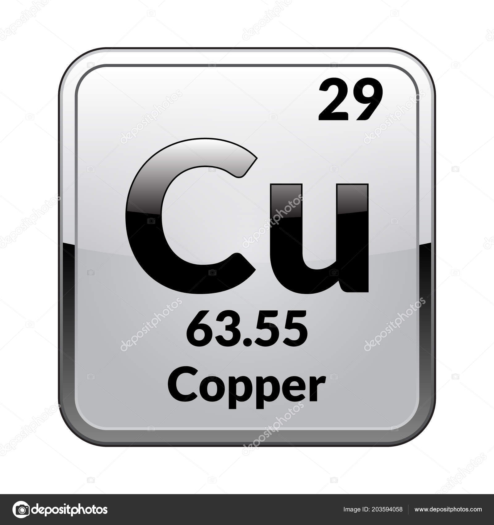 Copper Symbol Chemical Element Periodic Table Glossy White