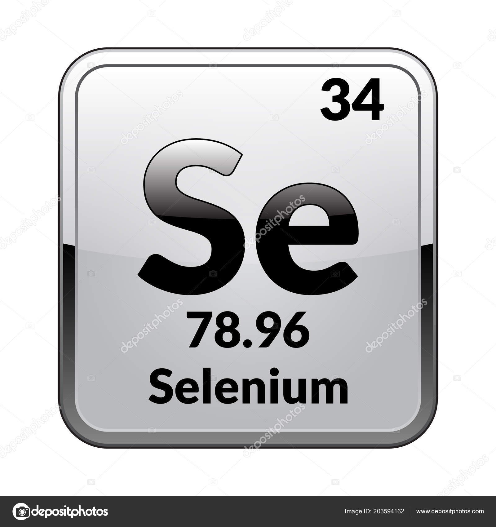 Selenium Symbol Chemical Element Periodic Table Glossy White