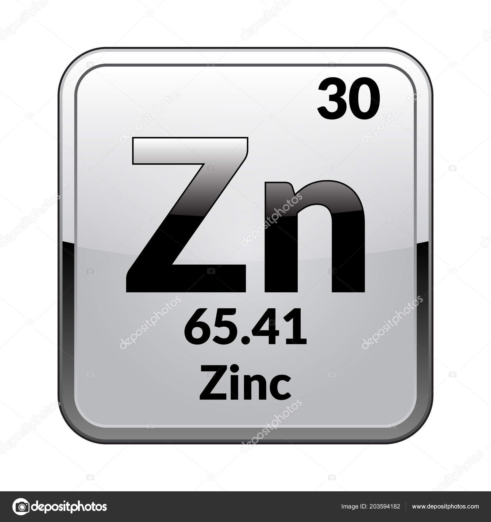 Zinc Symbol Chemical Element Periodic Table Glossy White Background