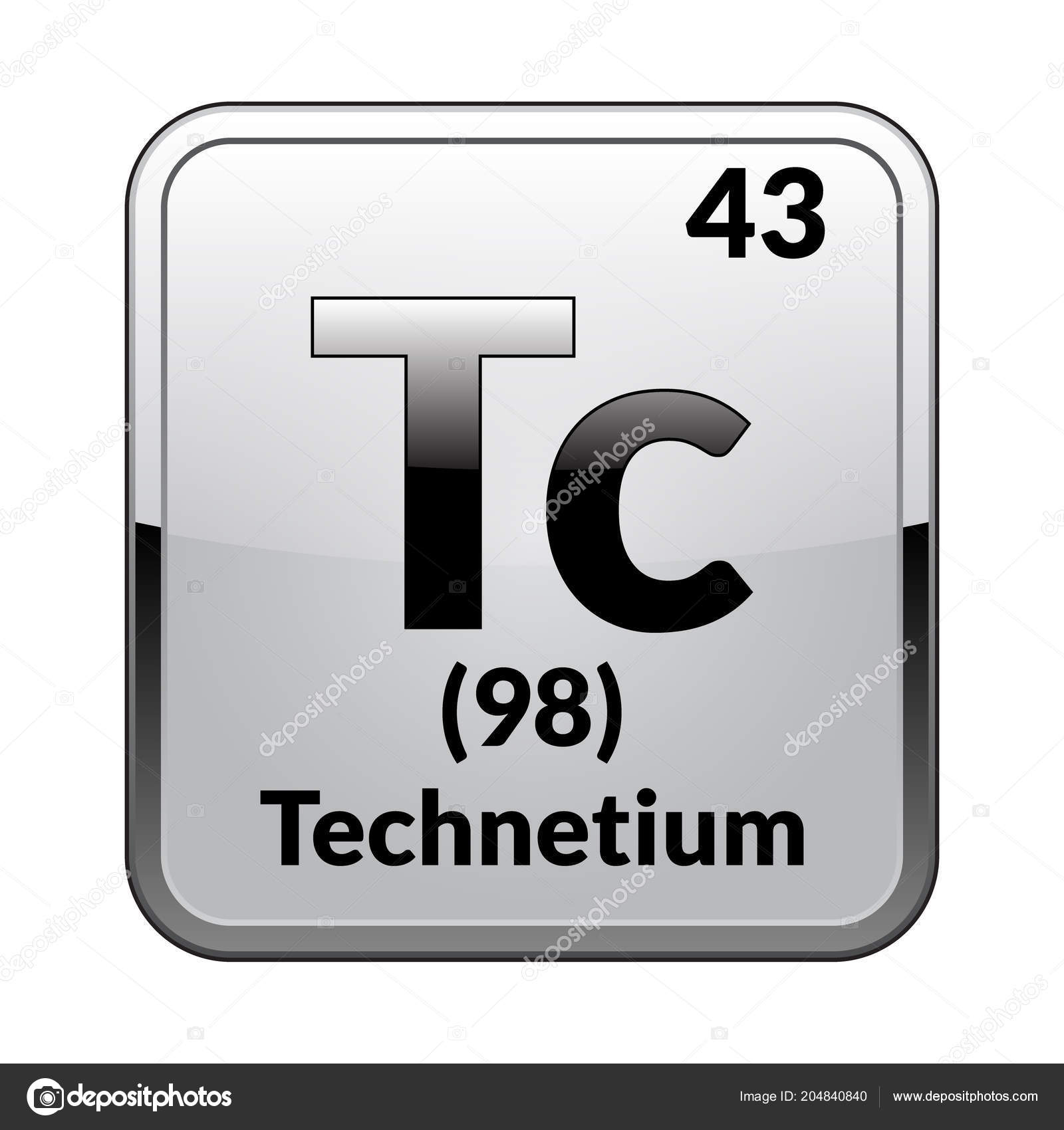 Technetium Symbol Chemical Element Periodic Table Glossy White