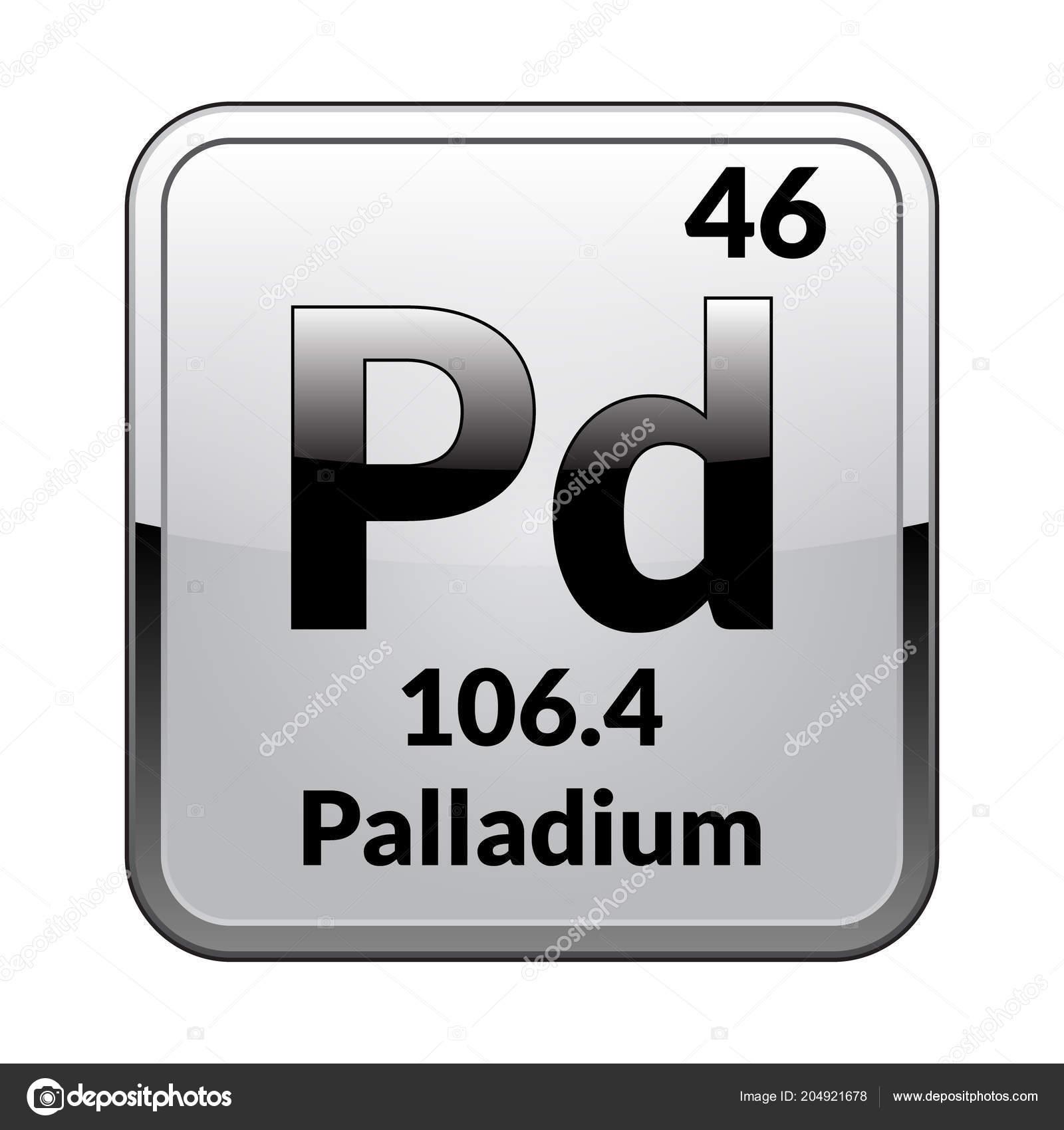 Palladium symbol chemical element periodic table glossy white palladium symbol chemical element periodic table glossy white background silver stock vector urtaz Images