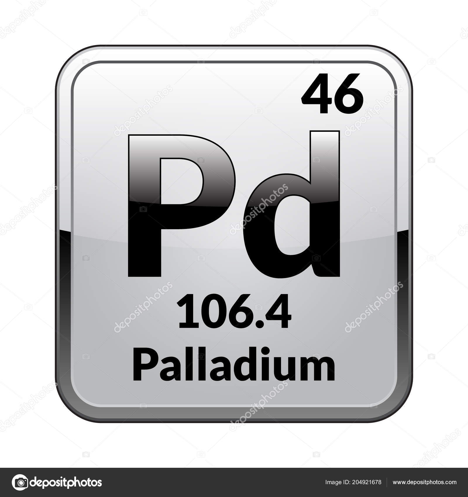 Palladium Symbol Chemical Element Periodic Table Glossy White