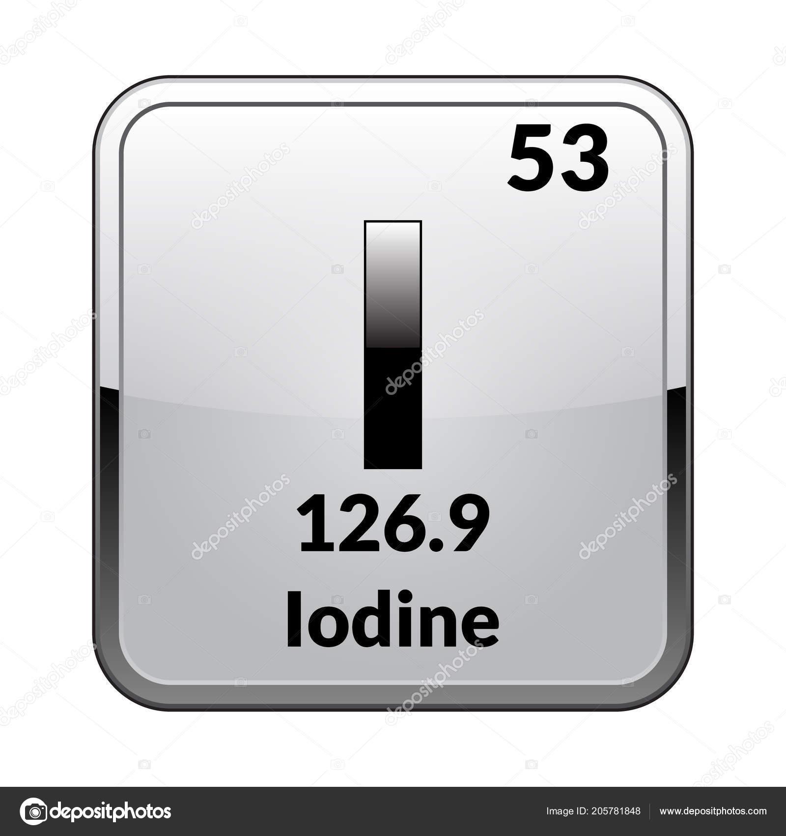 Iodine Symbol Chemical Element Periodic Table Glossy White