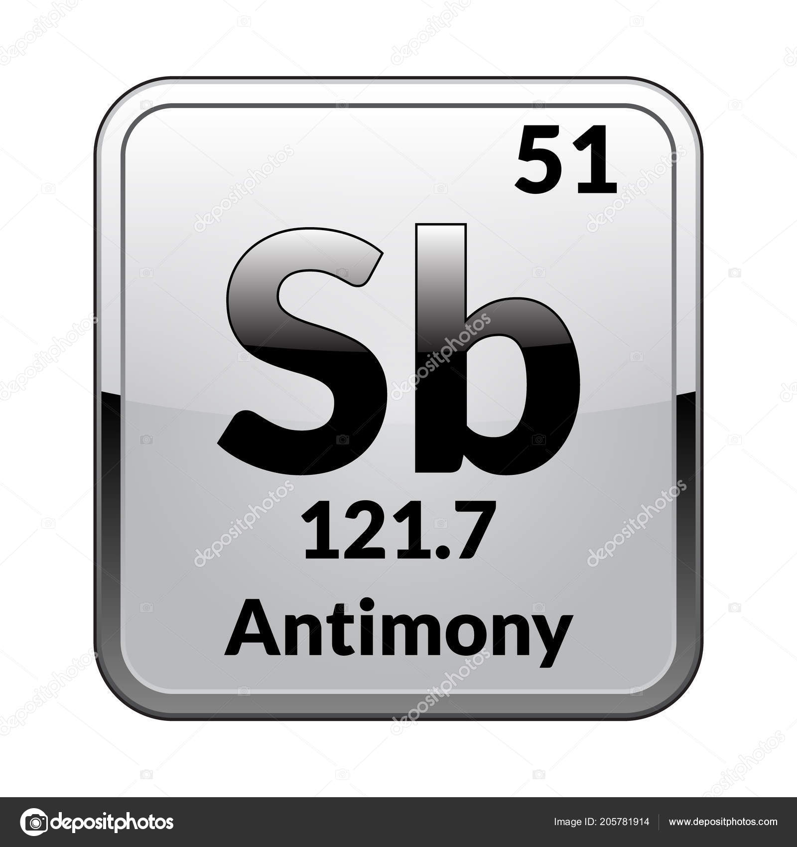 Antimony Symbol Chemical Element Periodic Table Glossy White