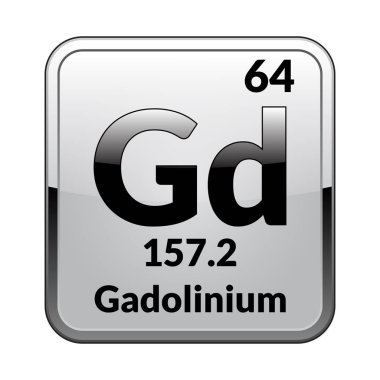 Gadolinium symbol.Chemical element of the periodic table on a glossy white background in a silver frame.Vector illustration.