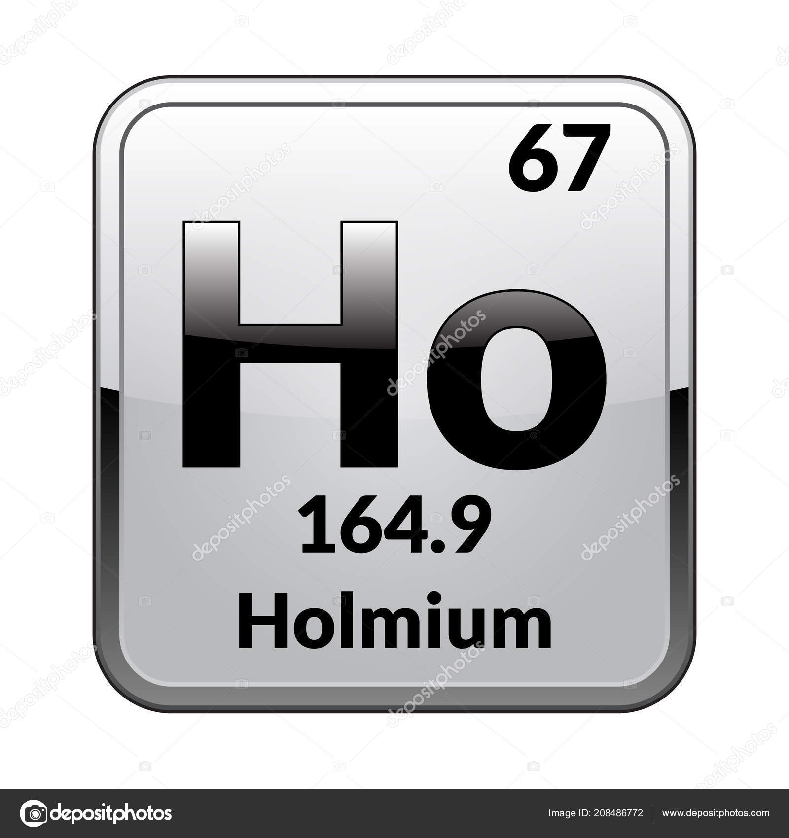 Holmium Symbol Chemical Element Periodic Table Glossy White