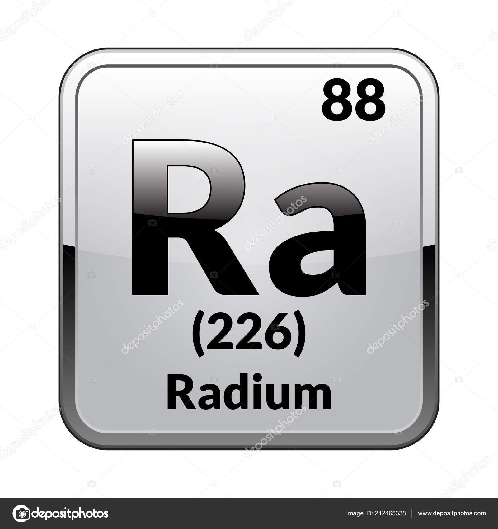 Radium Symbol Chemical Element Periodic Table Glossy White