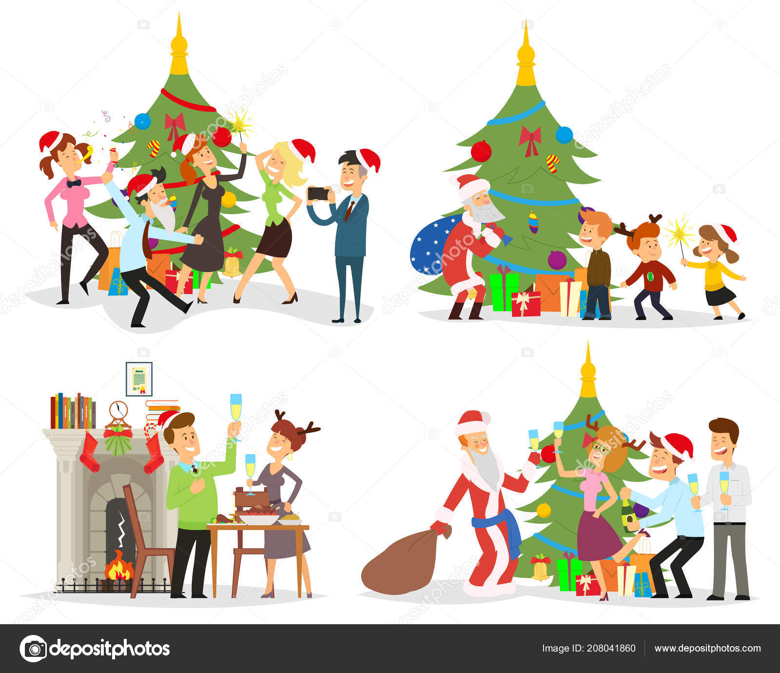 funny scenes people celebrate the new year stock vector