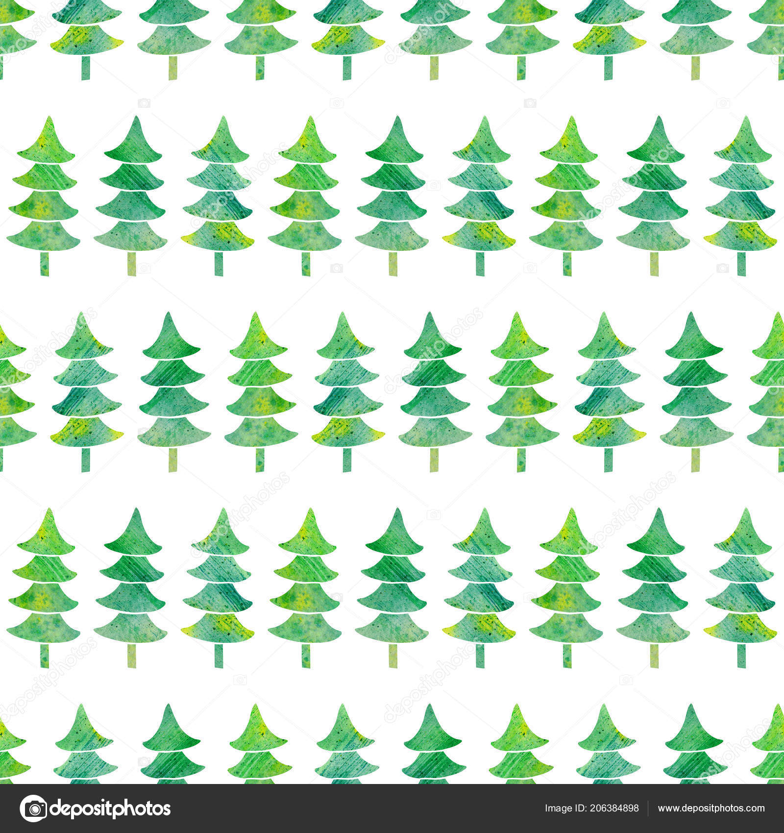 watercolor seamless pattern textured xmas trees simple christmas background hand stock photo