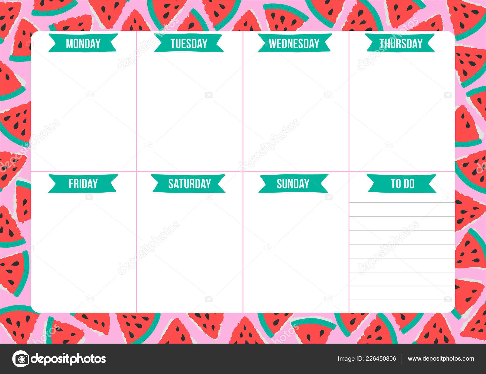 Cute Weekly Planner Drawn Watermelon Scandinavian Style Template Place Notes Stock Vector