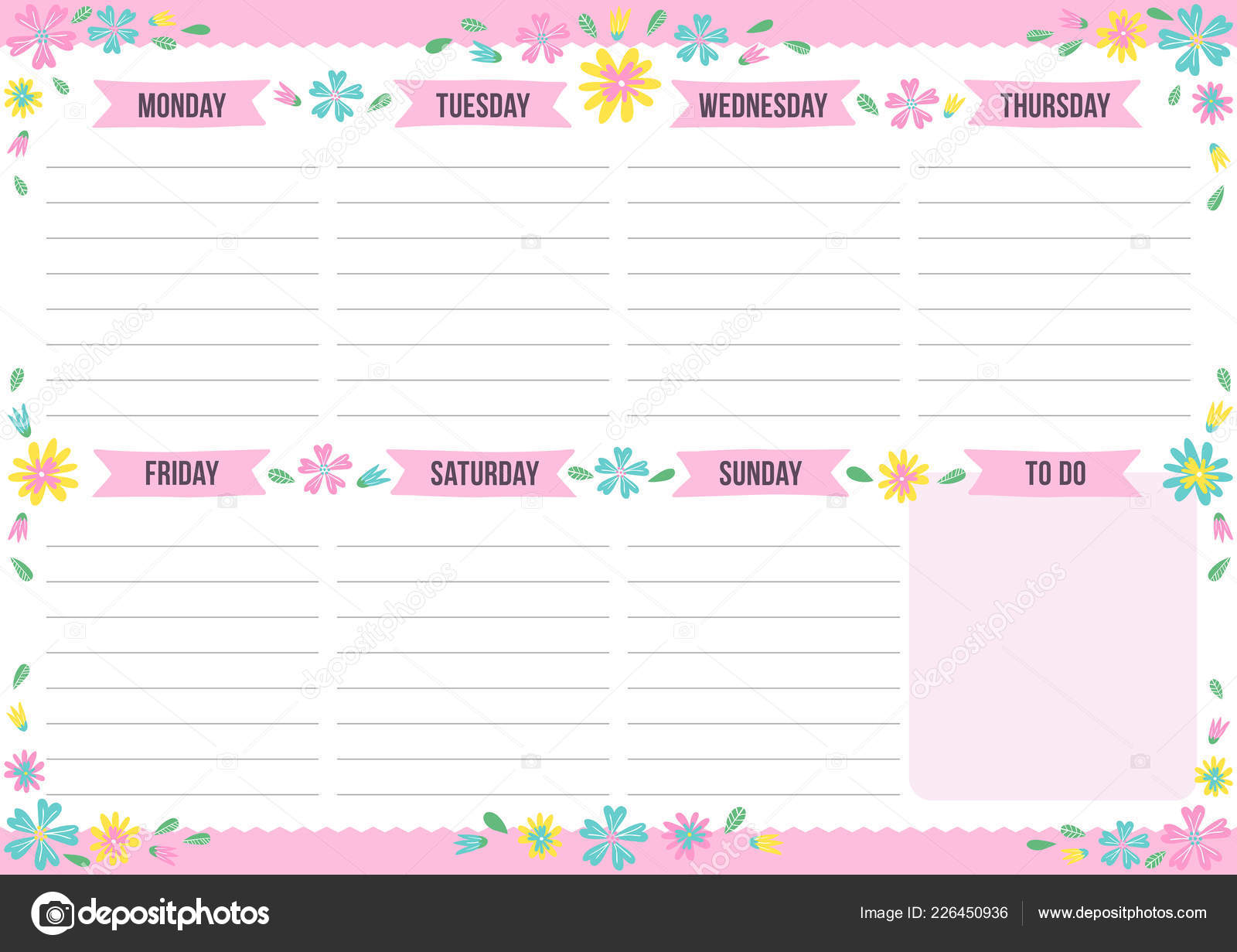 graphic regarding Cute Weekly Planners identify Lovely Weekly Planner Drawn Flower Template Room Notes Vector