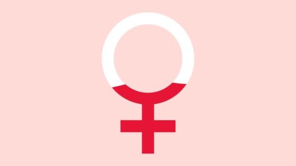 Női szimbólum töltött vér rózsaszín. Nőgyógyászati ikon kezdő időszaka. A menstruációs időszak fogalma. Grafikus animáció síkstílusban