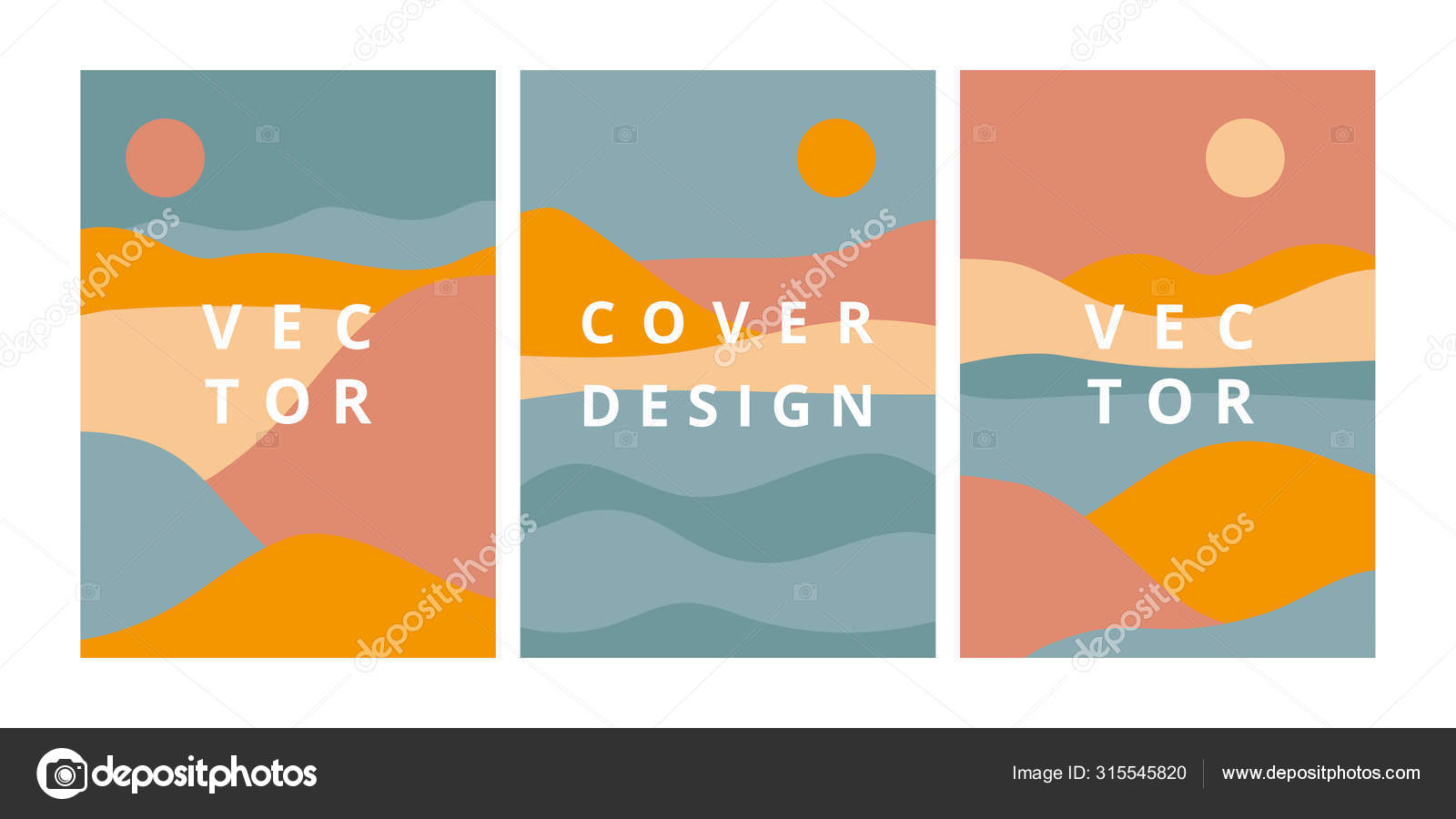 Set Of Landscape Backgrounds With Abstract Mountains Hills And River In Pastel Colors Vector Image By C Xenia800 Vector Stock 315545820