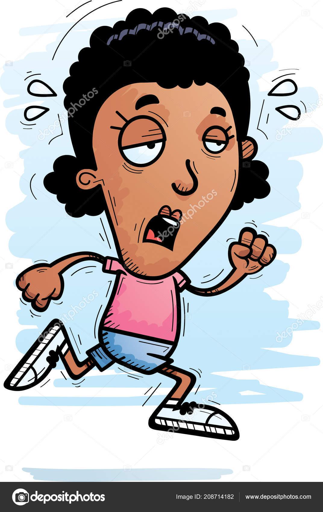 cartoon illustration black woman running looking exhausted