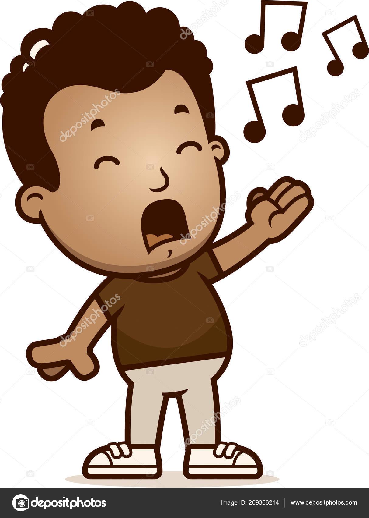歌っている少年の漫画イラスト ストックベクター Cthoman 209366214