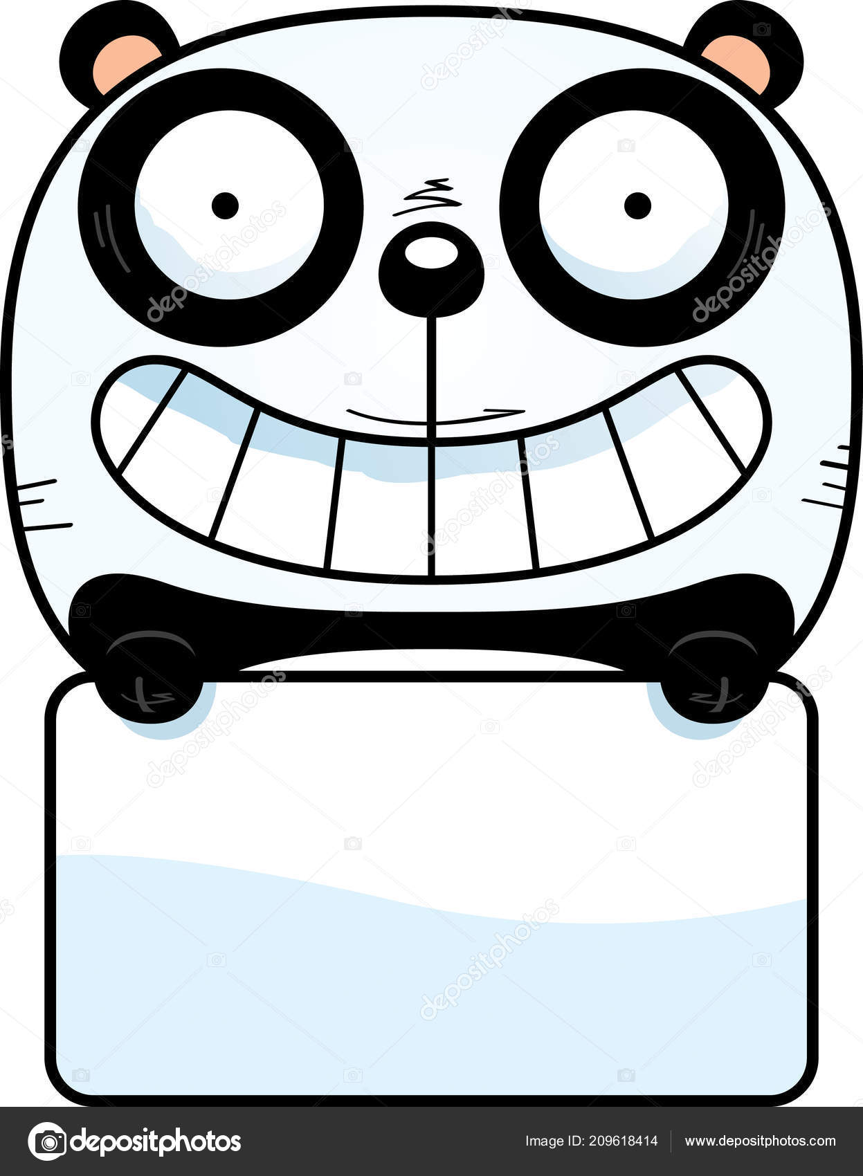 Une Illustration Dessin Animé Petit Panda Avec Panneau Blanc