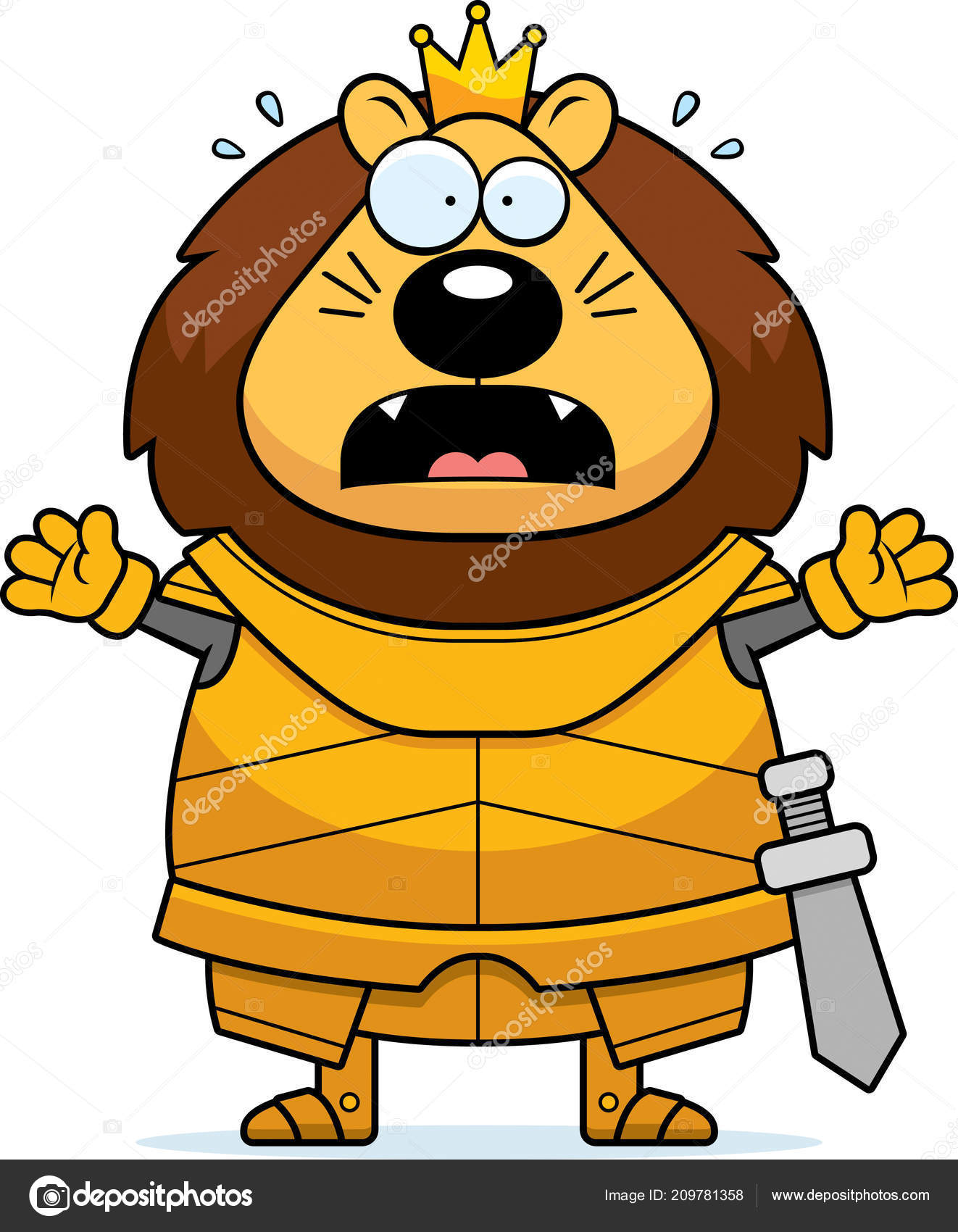 怖がって鎧でライオン キングの漫画イラスト ストックベクター