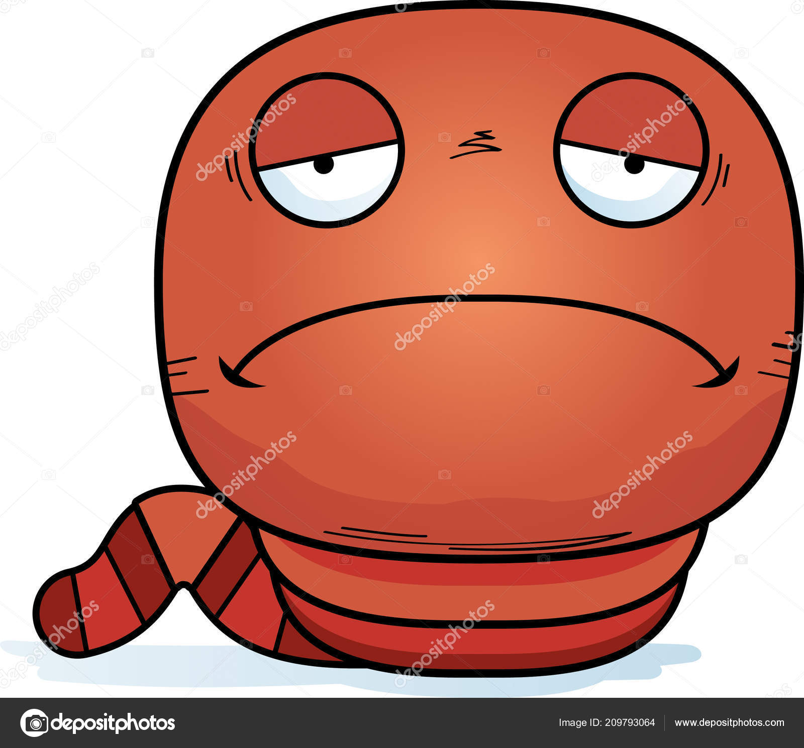 Cartoon Illustration Worm Looking Sad Stock Vector C Cthoman