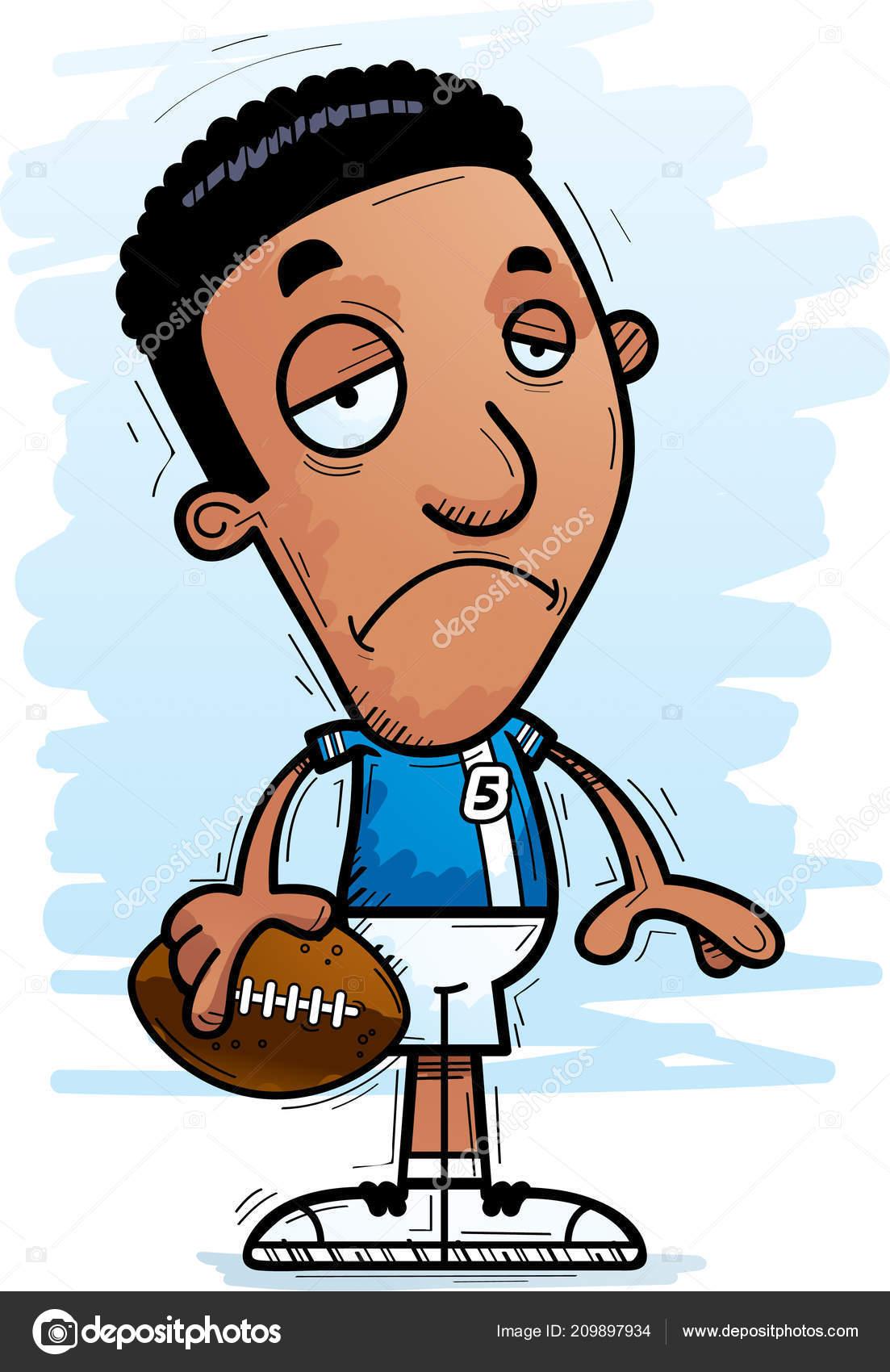 Uma Ilustracao Dos Desenhos Animados Jogador Futebol Negro Olhar