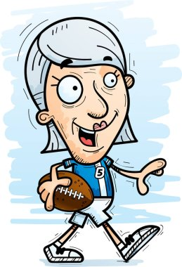A cartoon illustration of a senior citizen woman football player walking.