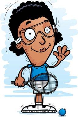 A cartoon illustration of a black woman racquetball player waving.