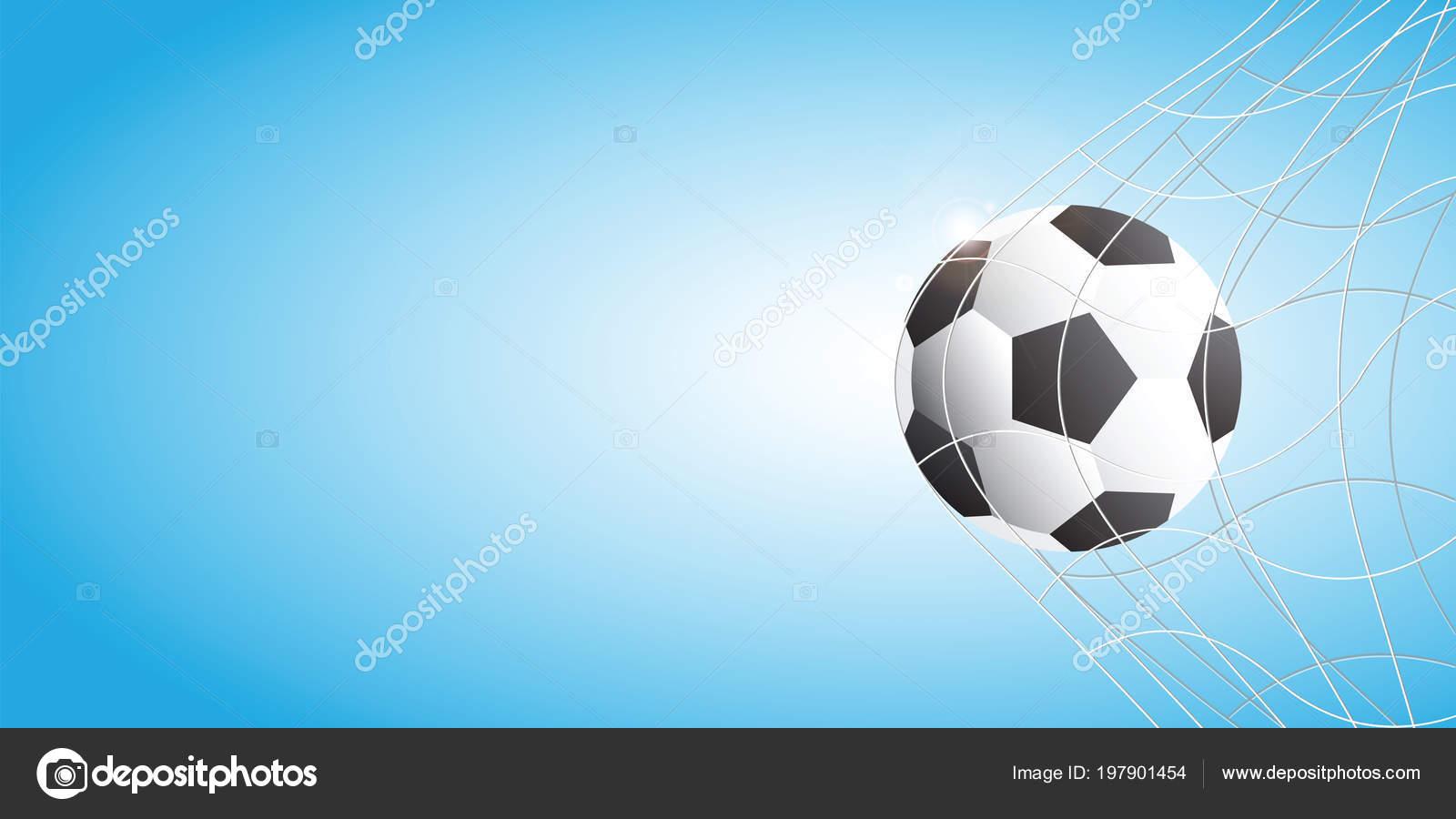 Calcio Calcio Rete Sfondo Blu Illustrazione Vettoriale Obiettivo