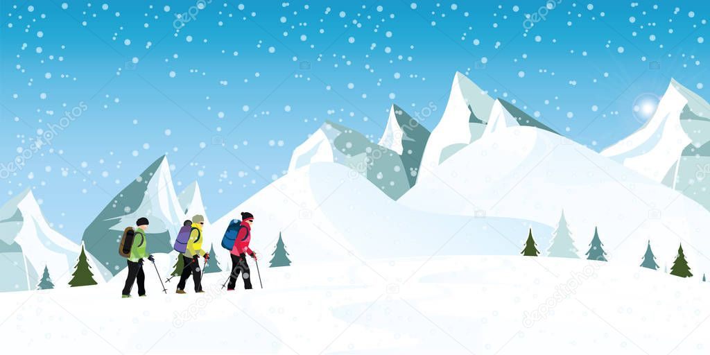Mountain Climbers With Backpacks Walking Through Heavy Snow In Winter Season Climbing And Mountaineering Sport Cartoon Vector Illustration Premium Vector In Adobe Illustrator Ai Ai Format Encapsulated Postscript Eps Eps Format