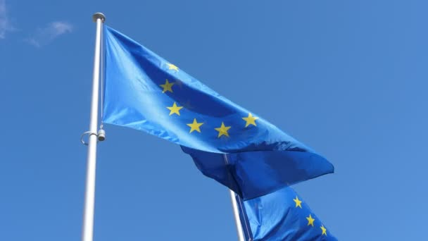 Two EU flags waving freely on flagpole in celeste sky in spring in slow motion                              Gorgeous down up view of two European Union flags with blue backgrounds and golden stars flying proudly on windy weather in spring in slo-mo