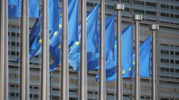 Beautiful EU flags waving at European Commission on a sunny day in slo-mo                              Exciting EU standards with blue backgrounds and golden stars flying at lofty modern and glassy official building in spring in slo-mo