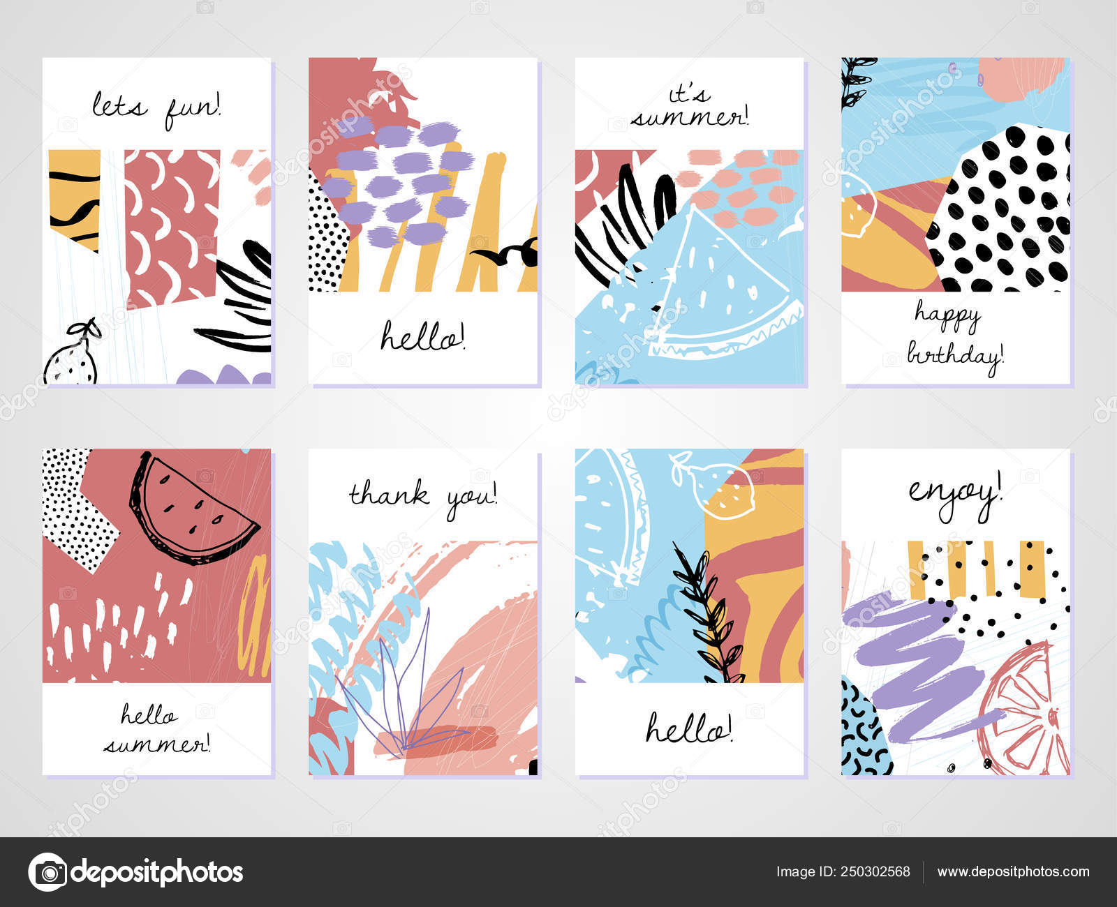 Creative Tropical Summer Cards Trendy Style Collage Hand Drawn Regarding Birthday Card Collage Template