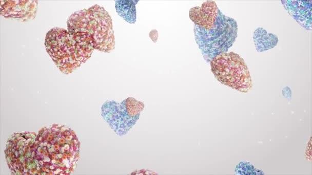 Padající srdce z květin