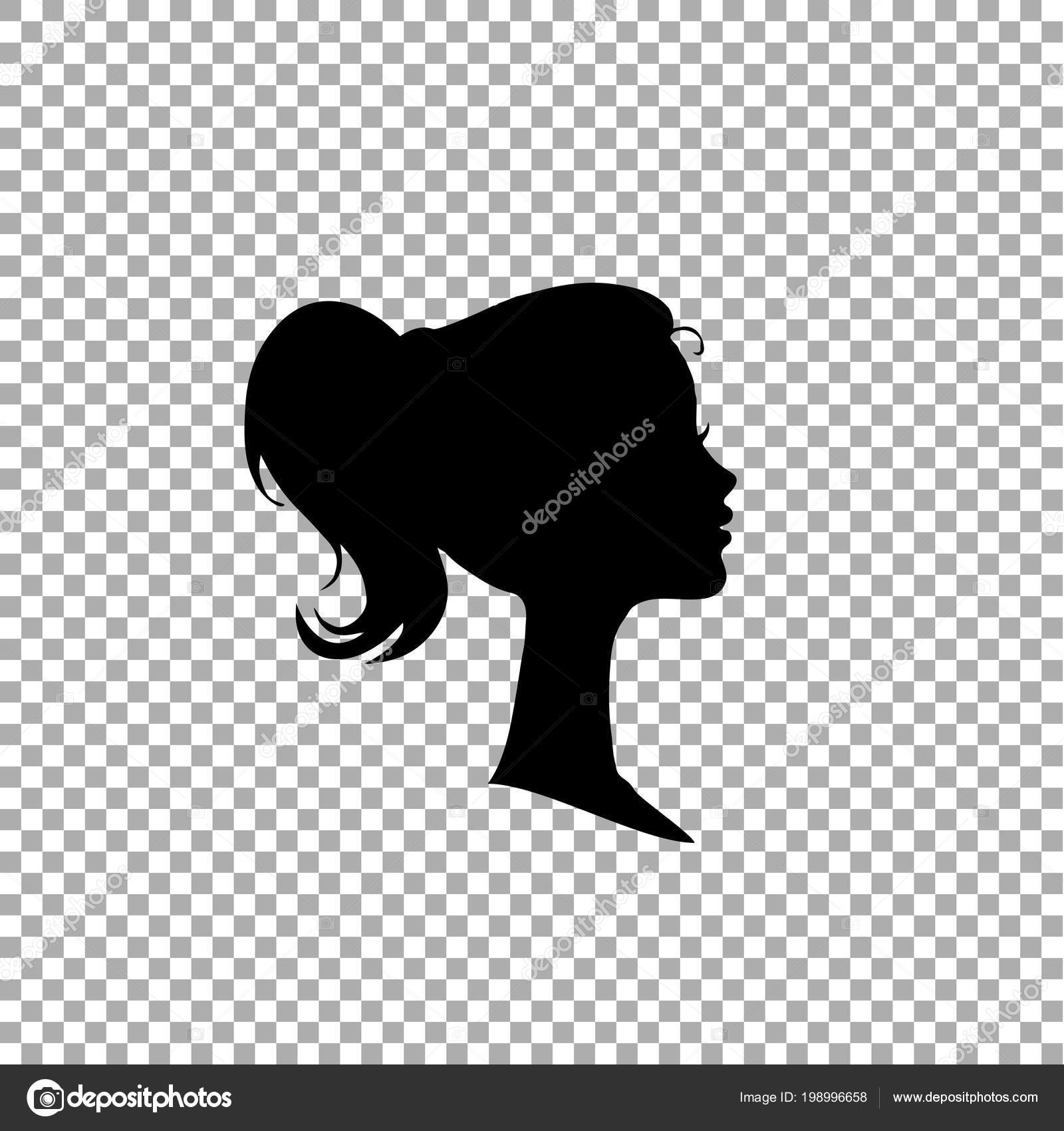 Black profile silhouette of young girl or woman head face profile vignette hand drawn vector illustration isolated on transparent background