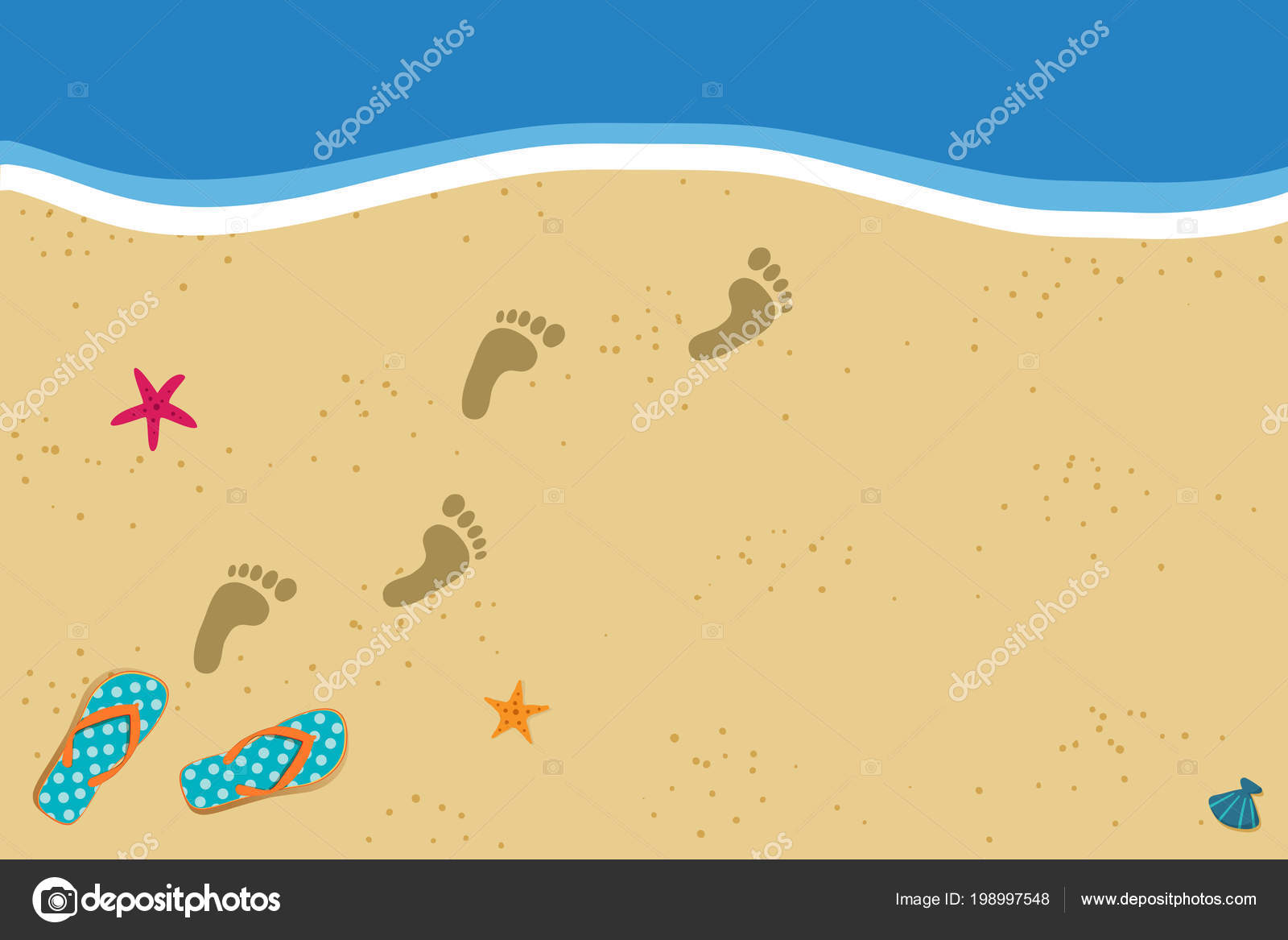 Summer Vacation Vector Photo Border Frame Pair Flip Flops Human ...