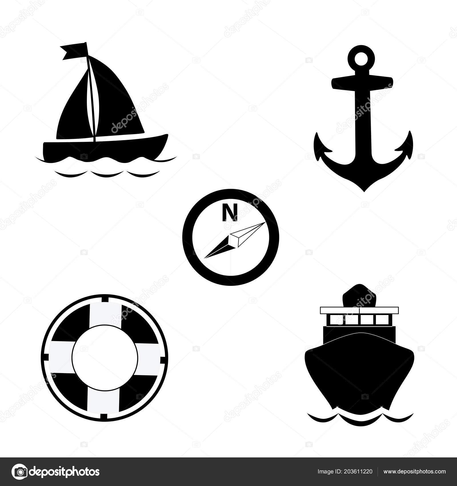 Vector Black White Silhouette Illustration Summer Travel Sea