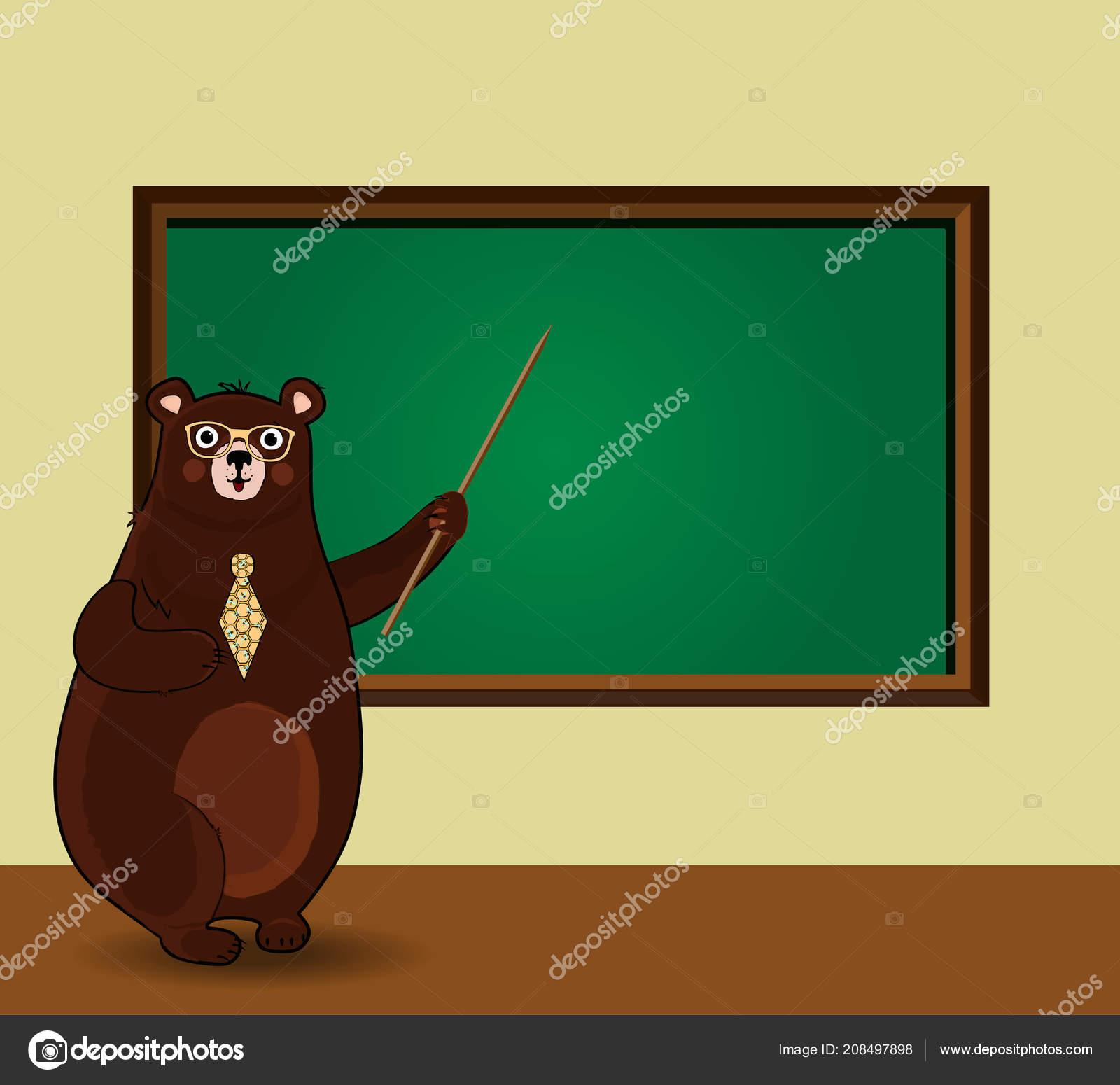 かわいい漫画のベクトル イラスト クマ先生眼鏡とネクタイの教室で黒板