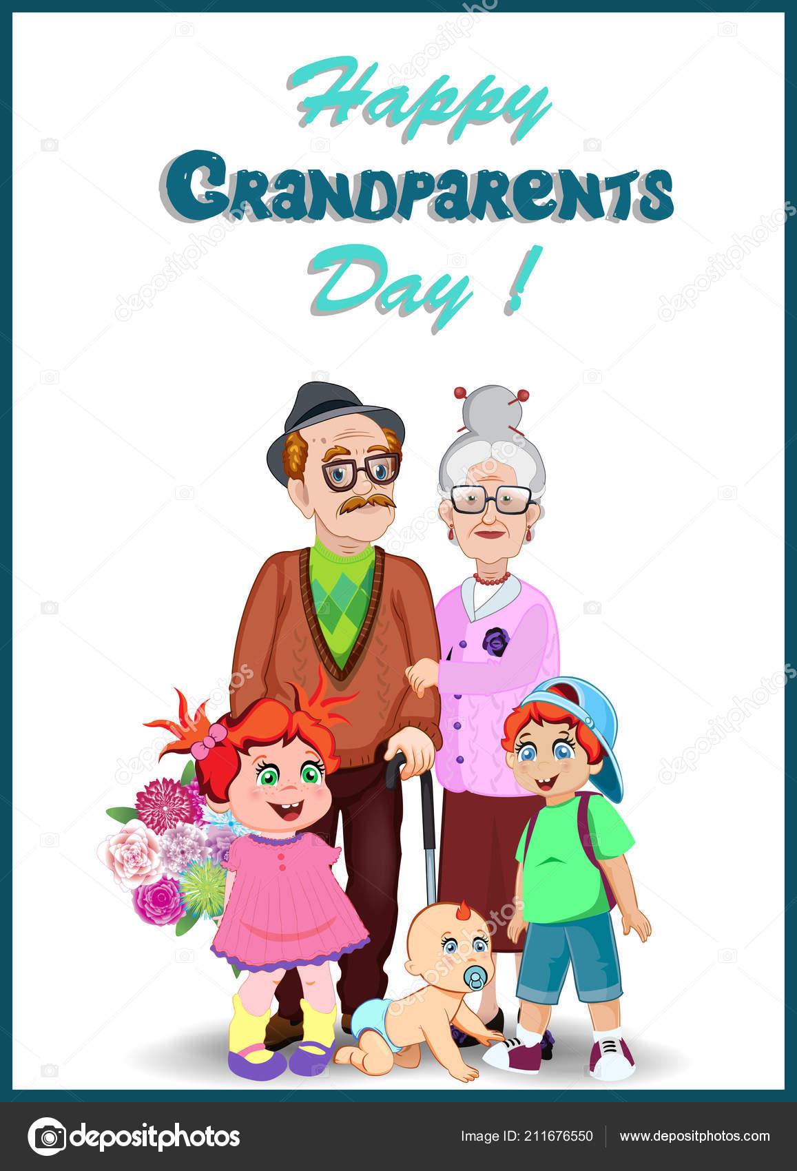Happy Grandparents Day Greeting Card Cartoon Vector Illustration