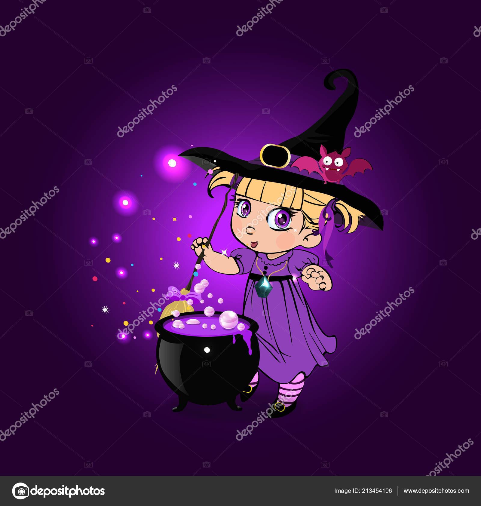 Vector Cartoon Illustration Halloween Kawaii Fille Petite